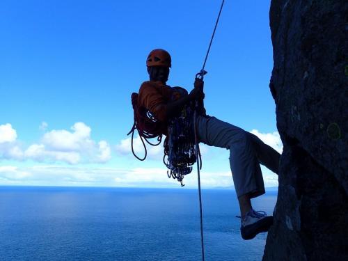 Rock climbing at Fair Head